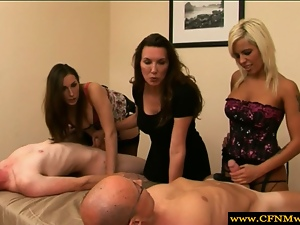 Group of femdoms humiliating subjects by tugging in hd