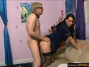CFNM babe demands fucking from old man in high def