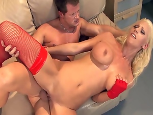 Beauty with big tits fucked in thigh high stockings