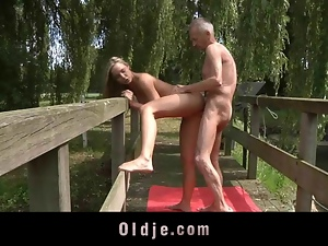 Old Guru coaching Teeny a kind of sexual gymnastic