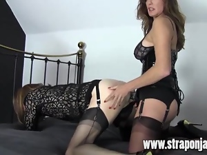FemDom Strapon Jane Fucks Crossdresser From Behind
