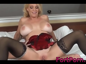 Blonde Mature loves a studs cock