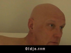 Old bald guest man got fucked by nympho maid
