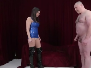 Femdom teases tiny cock with her assets