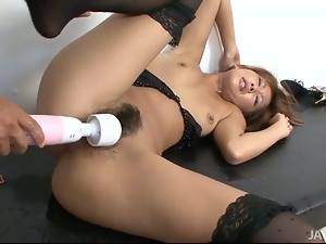 Erena Kurosawa has her furry muff toyed with by a horny