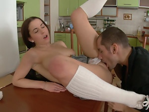 Teen fucking in the kitchen