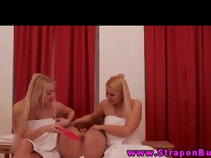 Strapon doms play with dildo on subs ass
