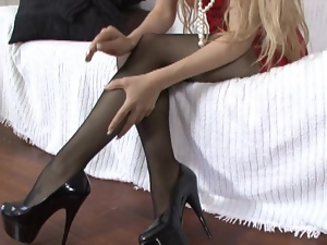Blistering blonde in nylons
