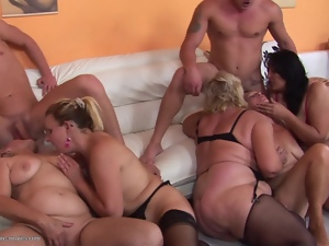 Group of mature women enjoy steamy orgy