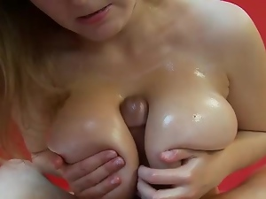 Big titted babe gives a dick a treat
