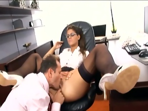 Sexy secretary has sex in stockings and a garter