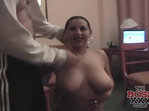 Busty babe opens her bathrobe and blows him