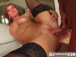 Threesome sex with big nut busted inside her