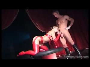 Red latex stockings on horny slut taking cock