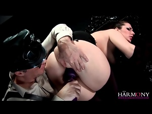 Master has slut in gloves suck his cock
