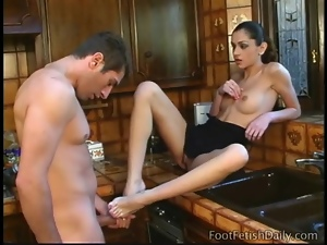 Lucky man gets to worship her dominant feet