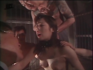 Group of guys binds and humiliates sub girl