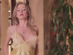 Big breasts Angela Sommers in satin lingerie