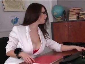 Teacher teases cleavage in red bra