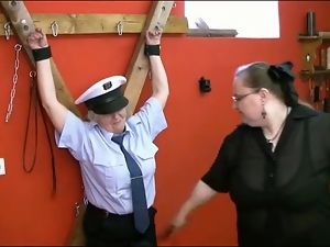 Bound mature fondled by her sexy mistress