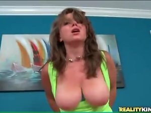 Sexy slut with natural titties rides boner