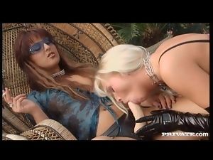 Lesbian on chain leash ass fucked by strapon
