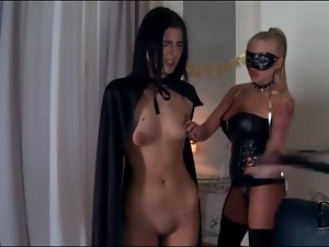 Masked mistress and her skinny submissive