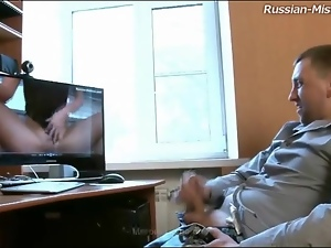 She catches him watching porn and dominates