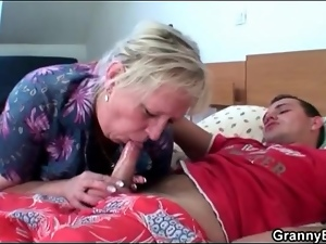 Mature slut strips for a tasty titjob