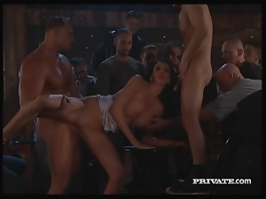 Bar patrons watch hot slut get fucked in public