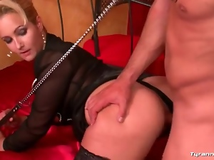 Man on leash fucks his mistress passionately