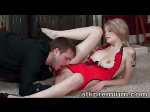 Amazing blowjob from beauty in red lingerie