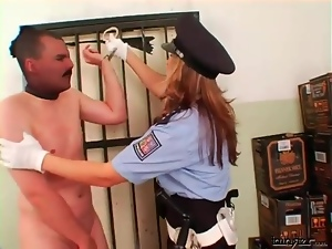 Female cop abuses a peeping Tom roughly