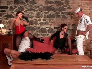 Sailors worship pussy and ass of sexy women