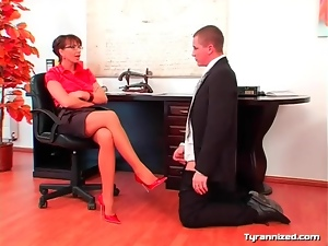 Office girl in satin enjoys dominating coworker