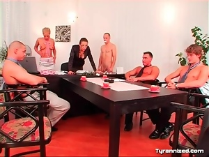 Naked man humiliated at an office meeting