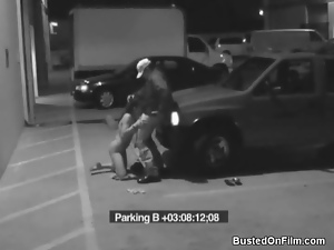Slut sucks security guard cock in parking lot