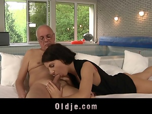 Old man seduced and fucked by young Lilu