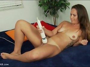 Shaved pussy masturbated by vibrator