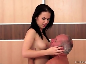 Hard grandpa cock sucked by sexy brunette