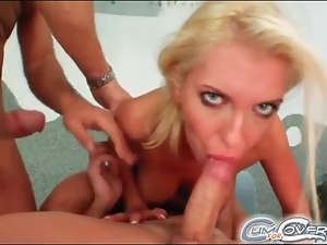 Blonde with fake tits eats cock and takes cum