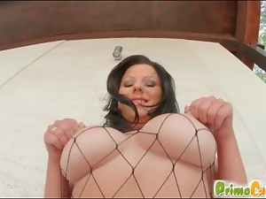 Chick in fishnet body stocking fucked