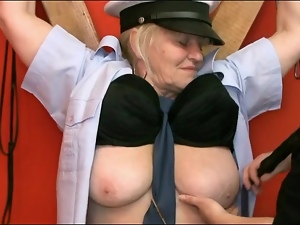 Chained up granny sub fondled in dungeon