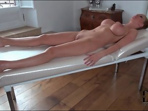 Plastic wrap bondage with Leigh Darby