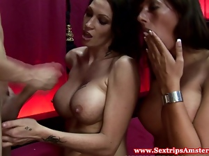 Real prostitutes fuck in threesome