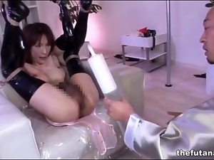 Milk enema and bondage abuse of shemale