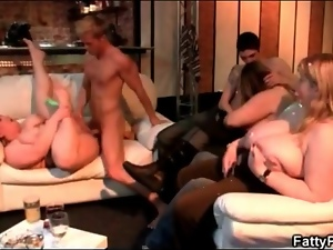 Fat chick fucked hardcore as her friends watch