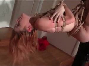 Naked girl bound for hardcore fuck with her man