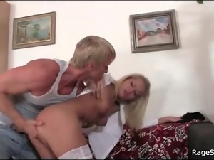 Angry man strips blonde slut and fingers her