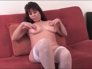 Fat ass old chick in white lingerie strips